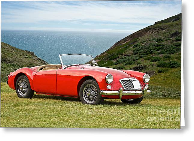 Recently Sold -  - Rally Greeting Cards - 1956 MGA Roadster Greeting Card by Dave Koontz