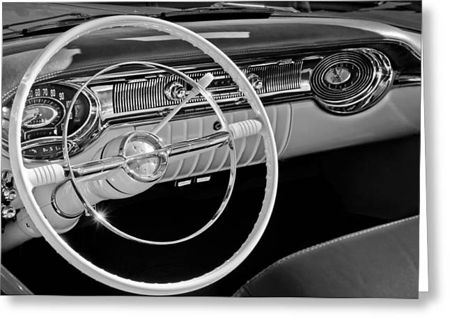 Starfire Photographs Greeting Cards - 1956 Oldsmobile Starfire 98 Steering Wheel and Dashboard Greeting Card by Jill Reger