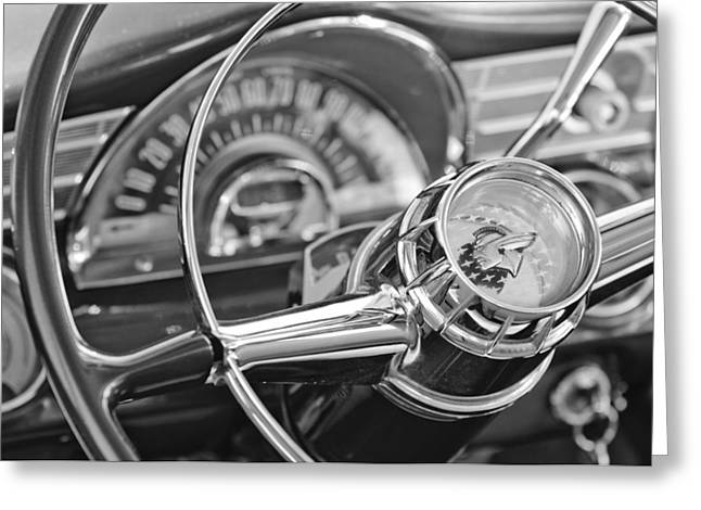 Chieftains Greeting Cards - 1956 Pontiac Chieftain Steering Wheel Greeting Card by Jill Reger
