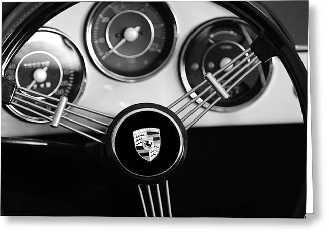 Steering Wheel Greeting Cards - 1956 Porsche Steering Wheel Emblem Greeting Card by Jill Reger