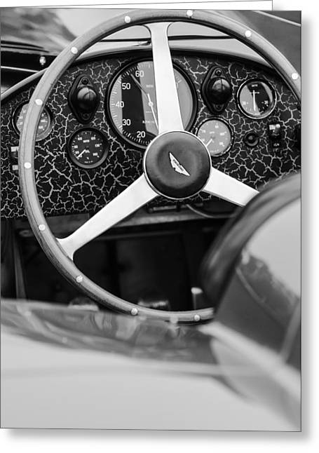 D.w Greeting Cards - 1957 Aston Martin DBR2 Steering Wheel Greeting Card by Jill Reger