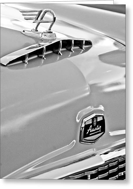Saloons Greeting Cards - 1957 Austin Cambrian 4 Door Saloon Hood Ornament and Emblem Greeting Card by Jill Reger