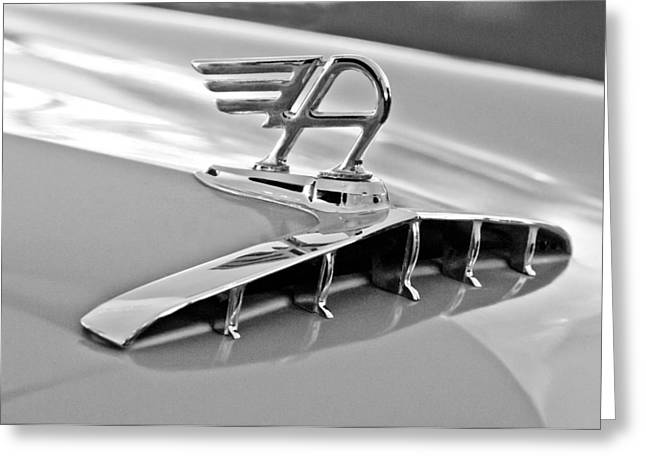 Saloons Greeting Cards - 1957 Austin Cambrian 4 Door Saloon Hood Ornament Greeting Card by Jill Reger