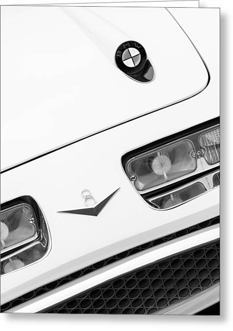 D.w Greeting Cards - 1957 BMW 507 Loewy Pichon et Parat Coupe Hood Emblem Greeting Card by Jill Reger