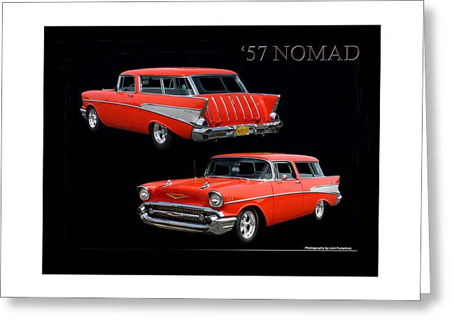 Reminiscent Greeting Cards - 1957 Chevrolet Nomad Greeting Card by Jack Pumphrey