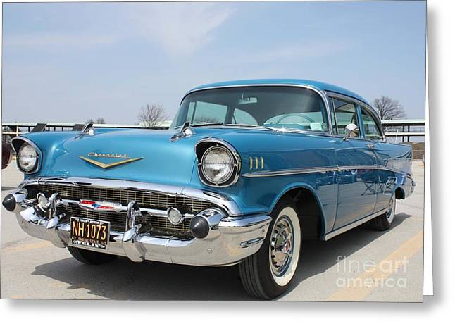 Paint Photograph Greeting Cards - 1957 Chevy Bel-Air Greeting Card by John Telfer