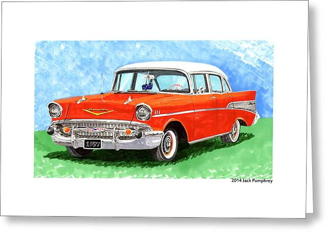 White Chevy Greeting Cards - 1957 Chevy Four Door Sedan Greeting Card by Jack Pumphrey