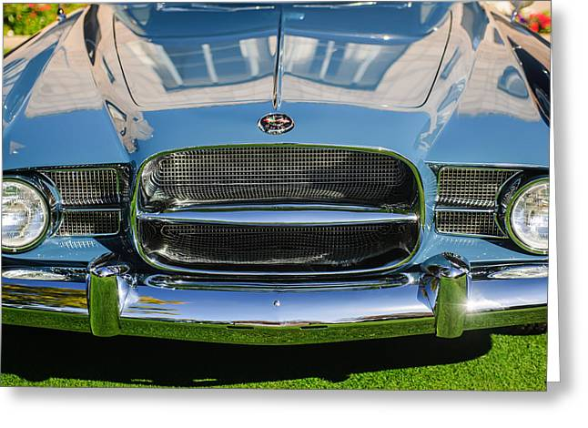 Dual Greeting Cards - 1957 Dual Ghia Sport Grille Greeting Card by Jill Reger