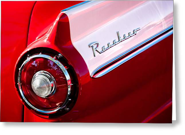 Ford Custom Greeting Cards - 1957 Ford Custom 300 Series Ranchero Taillight Emblem Greeting Card by Jill Reger