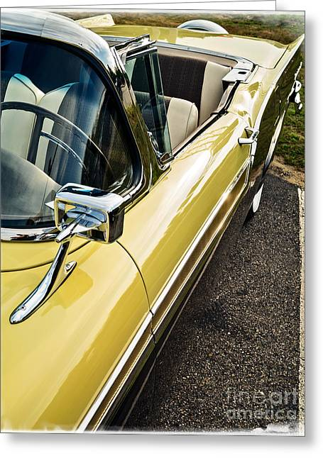 Timer Greeting Cards - 1957 Ford Fairlane 500 Skyliner Retractable Hardtop Convertible Greeting Card by Edward Fielding