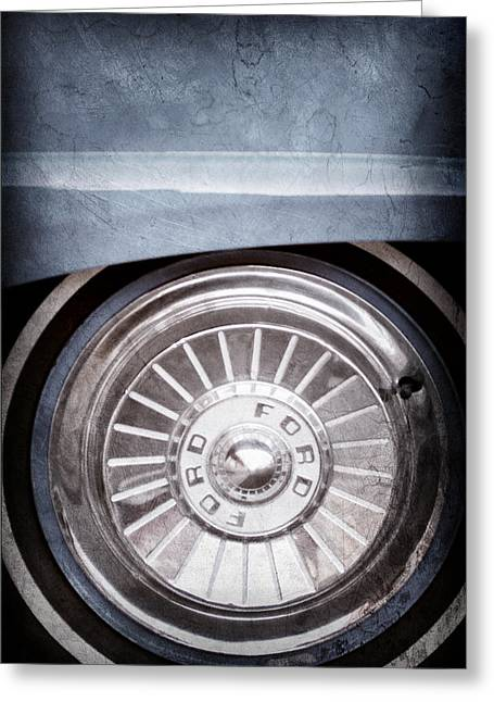 Fairlane Greeting Cards - 1957 Ford Fairlane Wheel Emblem Greeting Card by Jill Reger