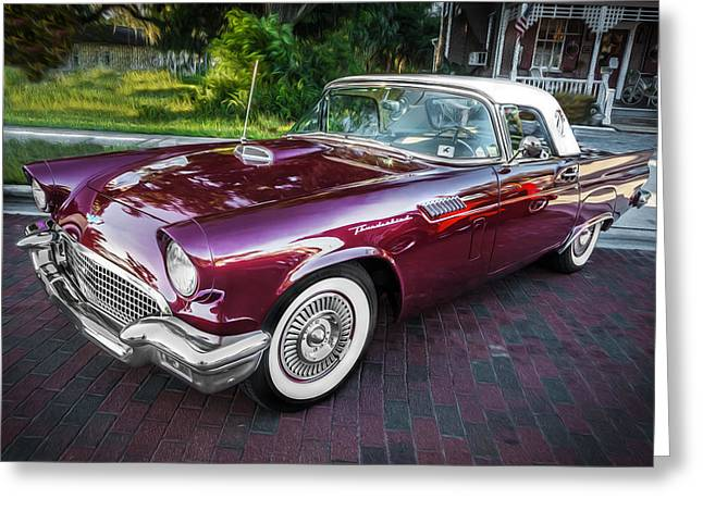 1957 Ford Thunderbird Convertible Painted    Greeting Card by Rich Franco