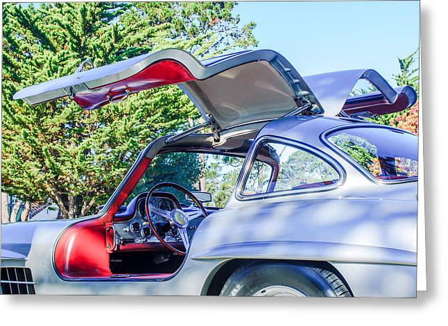 Gullwing Greeting Cards - 1957 Mercedes-Benz Gullwing  Greeting Card by Jill Reger