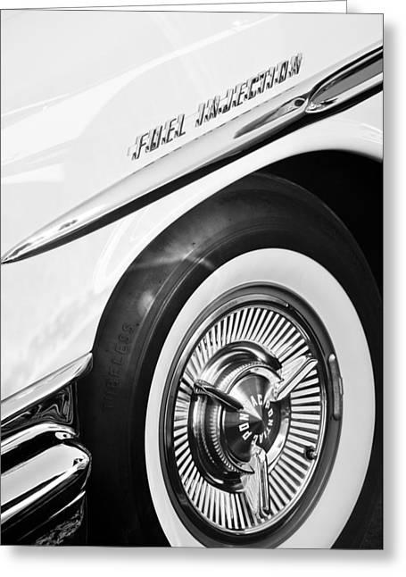 Bonneville Pictures Greeting Cards - 1957 Pontiac Bonneville Wheel Greeting Card by Jill Reger