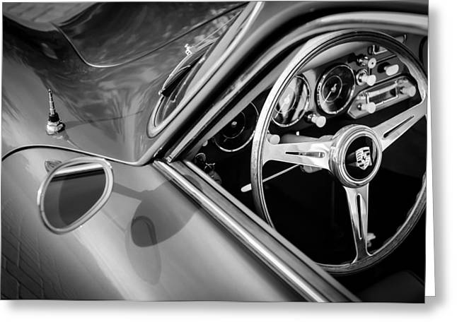 Photos Of Car Greeting Cards - 1957 Porsche Steering Wheel Greeting Card by Jill Reger