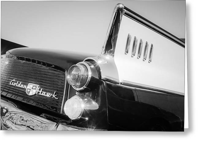 Supercharged Greeting Cards - 1957 Studebaker Golden Hawk Supercharged Sports Coupe Taillight Emblem Greeting Card by Jill Reger