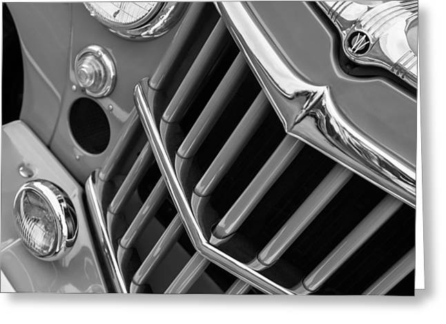 Jeeps Greeting Cards - 1957 Willys Jeep 6-226 Wagon Grille Emblem Greeting Card by Jill Reger
