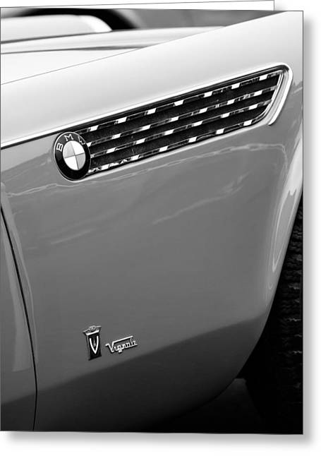 D.w Greeting Cards - 1958 BMW 3200 Michelottie Vignale Roadster Emblems Greeting Card by Jill Reger