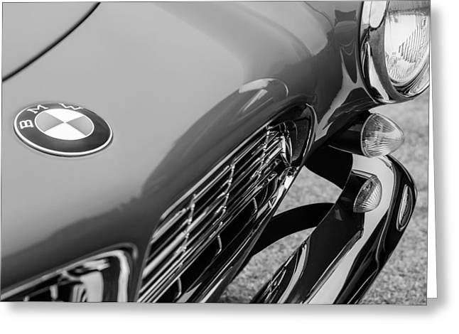 Bmw Emblem Greeting Cards - 1958 BMW 507 Series II Roadster Hood Emblem - Grille Greeting Card by Jill Reger