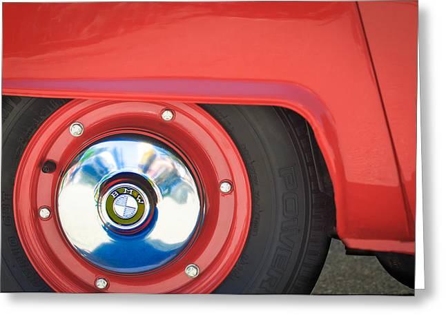 1958 Bmw Isetta 300 Wheel Emblem Greeting Card by Jill Reger