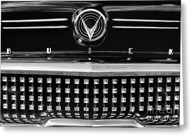 Custom Grill Greeting Cards - 1958 Buick Special Monochrome Greeting Card by Tim Gainey