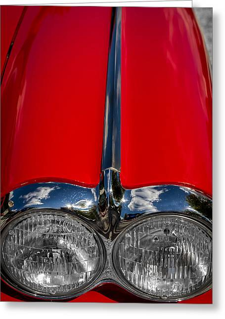 1960 Greeting Cards - 1958 Chevrolet Corvette Headlights Greeting Card by Ron Pate