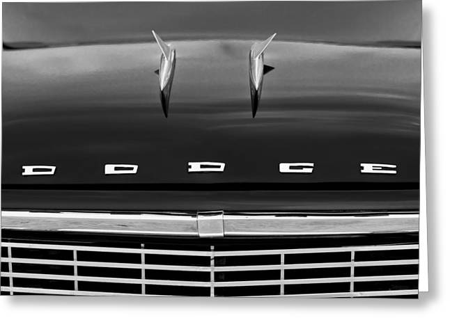 D.w Greeting Cards - 1958 Dodge Coronet Super D-500 Convertible Hood Ornament Greeting Card by Jill Reger