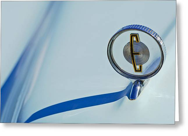 Blue Classic Car Greeting Cards - 1958 Edsel Ranger Hood Ornament Greeting Card by Jill Reger