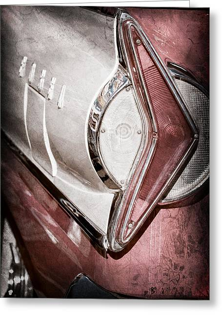 Wagon Greeting Cards - 1958 Edsel Wagon Taillight Emblem Greeting Card by Jill Reger