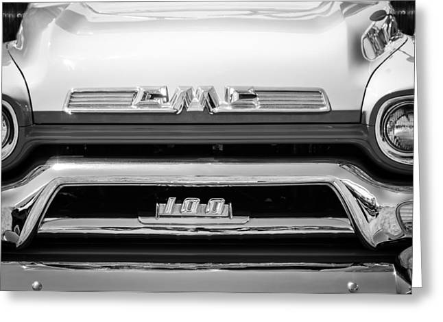 Gmc Greeting Cards - 1958 GMC Series 101-S Pickup Truck Grille Emblem Greeting Card by Jill Reger