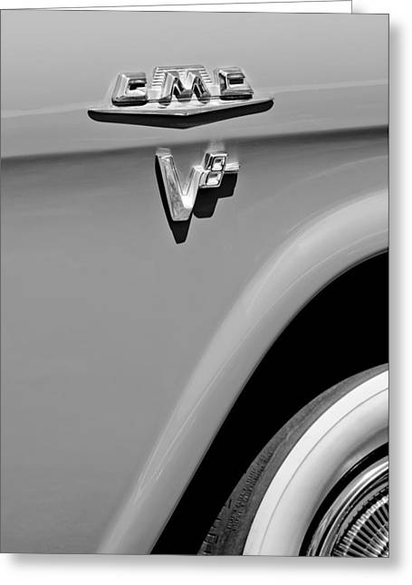 Classic Pickup Greeting Cards - 1958 GMC Series 101-S Pickup Truck Side Emblem Greeting Card by Jill Reger