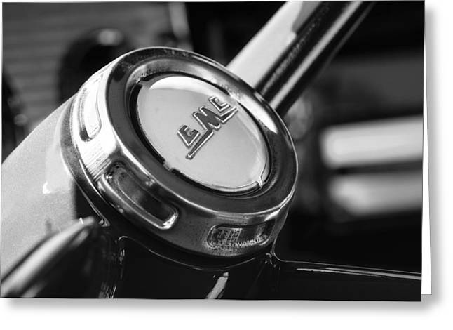 Gmc Greeting Cards - 1958 GMC Suburban Steering Wheel Emblem Greeting Card by Jill Reger