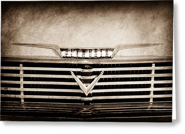 Belvedere Greeting Cards - 1958 Plymouth Belvedere Convertible Grille Emblem Greeting Card by Jill Reger