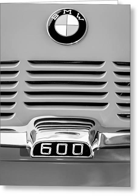 Bmw Emblem Greeting Cards - 1959 BMW 600 Isetta Emblem Greeting Card by Jill Reger