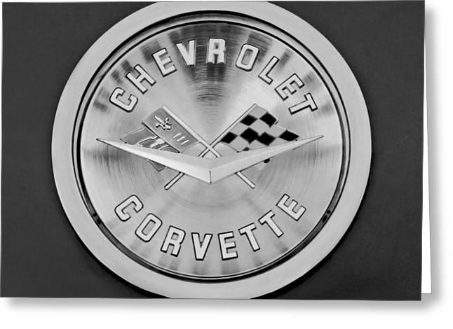 1959 Chevrolet Greeting Cards - 1959 Chevrolet Corvette Emblem Greeting Card by Jill Reger