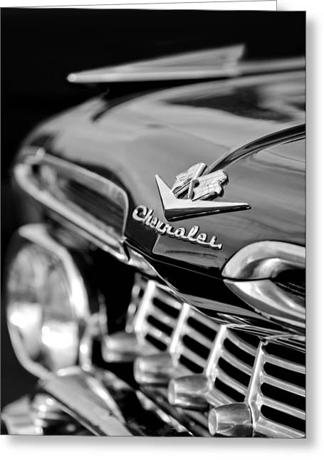 1959 Chevrolet Greeting Cards - 1959 Chevrolet Grille Emblem Greeting Card by Jill Reger