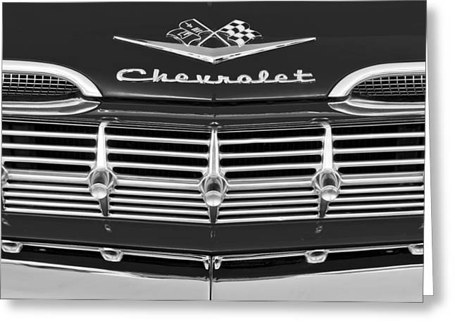 1959 Chevrolet Greeting Cards - 1959 Chevrolet Grille Ornament Greeting Card by Jill Reger