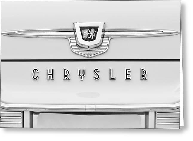 New Yorker Greeting Cards - 1959 Chrysler New Yorker Emblem Greeting Card by Jill Reger
