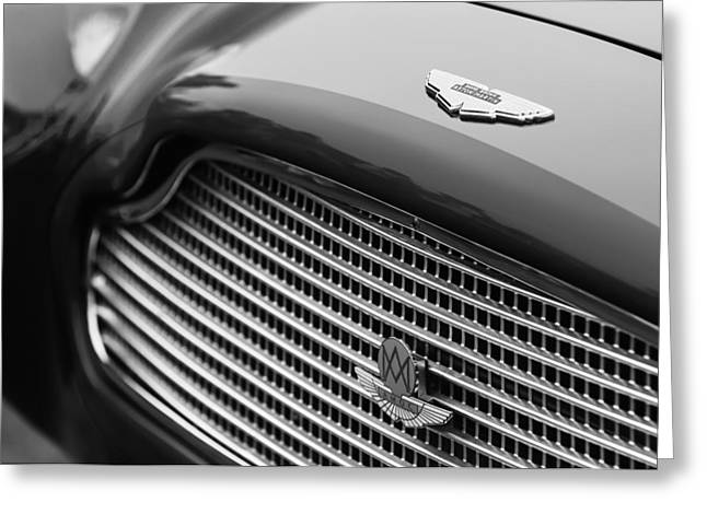 D.w Greeting Cards - 1960 Aston Martin DB4 GT Coupe Grille Emblem Greeting Card by Jill Reger