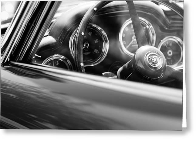 Wheels Greeting Cards - 1960 Aston Martin DB4 Series II Steering Wheel Greeting Card by Jill Reger