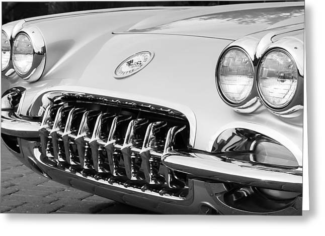 1960 Greeting Cards - 1960 Chevrolet Corvette Grille Greeting Card by Jill Reger