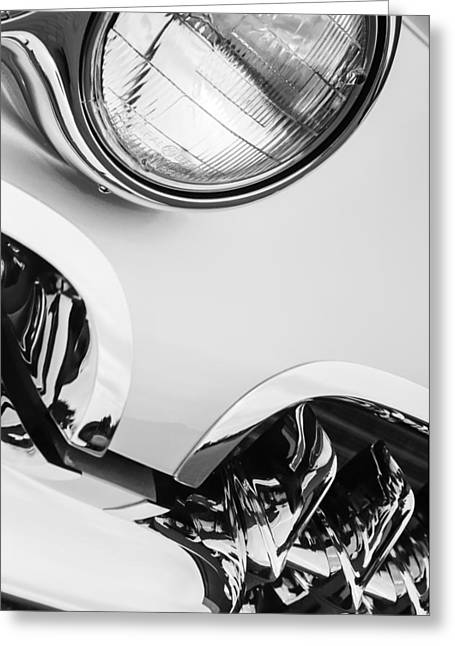 1960 Greeting Cards - 1960 Chevrolet Corvette Head Light Greeting Card by Jill Reger