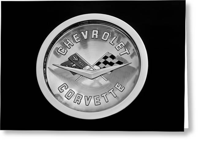1960 Greeting Cards - 1960 Chevrolet Corvette Roadster Emblem Greeting Card by Jill Reger