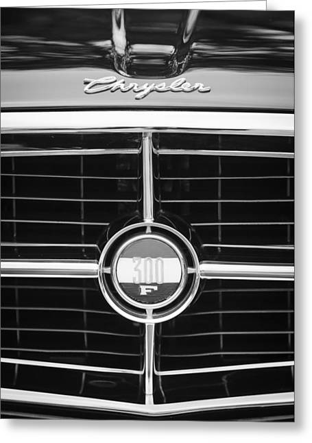 1960 Greeting Cards - 1960 Chrysler 300F Convertible Grille Emblem Greeting Card by Jill Reger