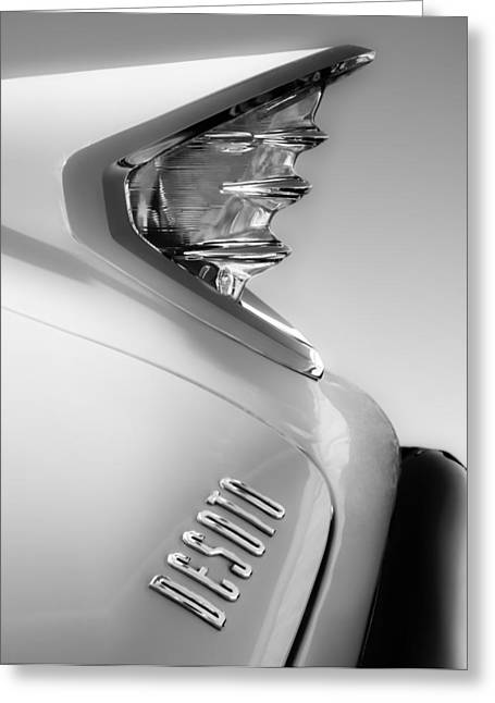 Two Tailed Photographs Greeting Cards - 1960 DeSoto Fireflite Two-Door Hardtop Taillight Emblem Greeting Card by Jill Reger