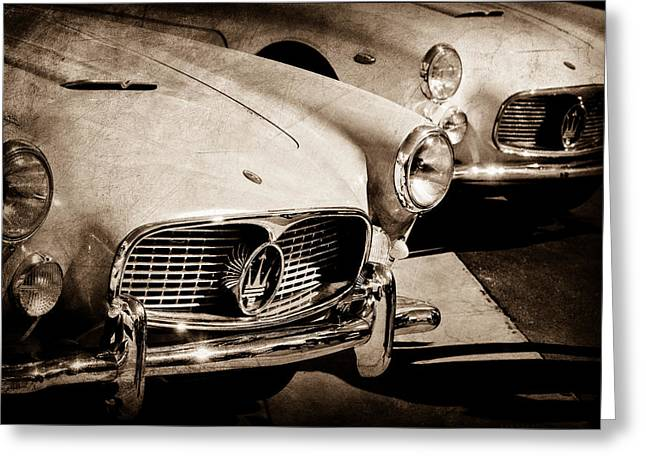 1960 Maserati Grille Emblem Greeting Card by Jill Reger