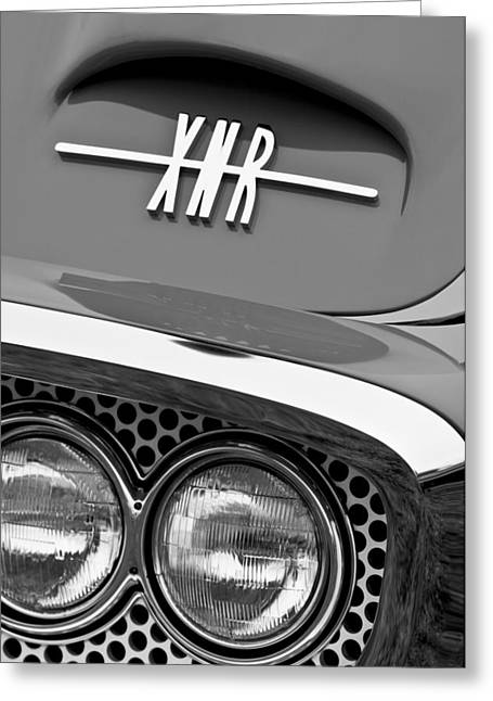 1960 Greeting Cards - 1960 Plymouth XNR Ghia Roadster Grille Emblem Greeting Card by Jill Reger