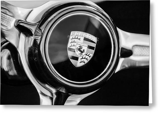 1960 Greeting Cards - 1960 Porsche 356 B Roadster Steering Wheel Emblem Greeting Card by Jill Reger