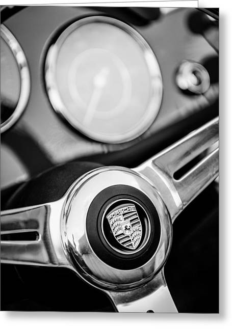 1960 Greeting Cards - 1960 Porsche 356B 1600 Roadster Steering Wheel Emblem Greeting Card by Jill Reger