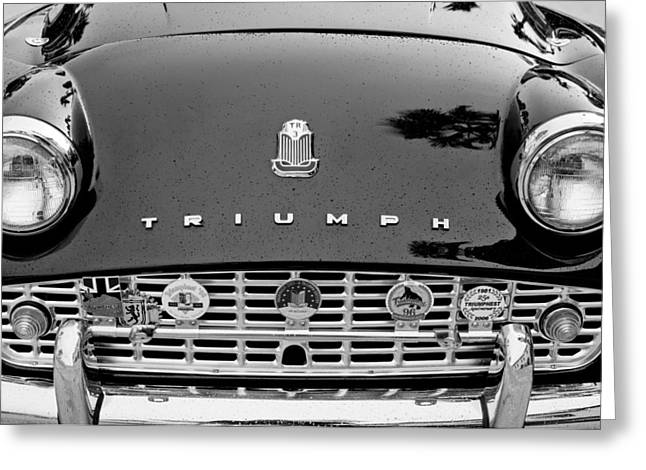 1960 Greeting Cards - 1960 Triumph TR 3 Grille Emblems Greeting Card by Jill Reger